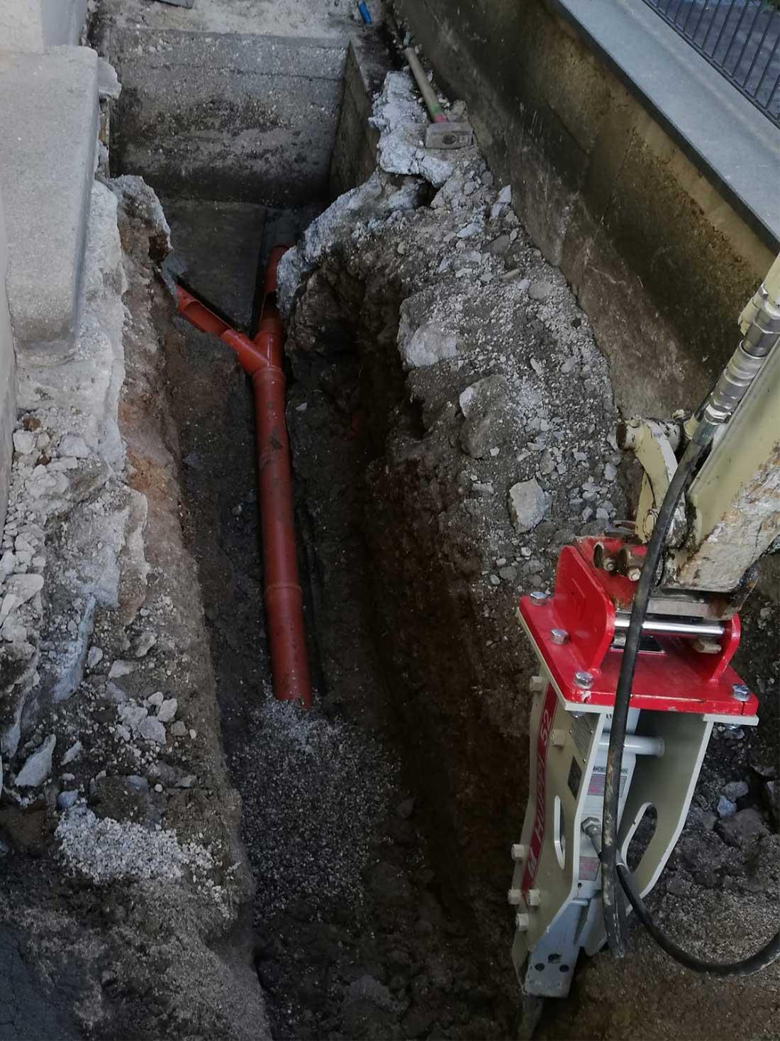 Kanalbauarbeiten, Leitungsbau BAustelle